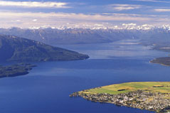 Aerial view of Te Anau Township and Lake Te Anau